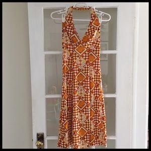 Vintage Floral Halter Dress Set
